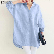 2021 zanzea blusa feminina à moda botão camisas casual manga longa blusões feminino lapela sólida túnica plus size baggy chise 5xl