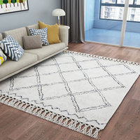 Handmade Morocco Style Geometric Plaid Living Room Carpet and Rug Beige White Turkey Home Bedroom Carpet With Tassel Decoration