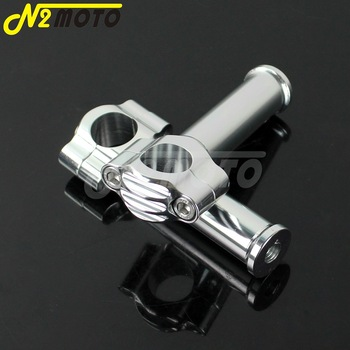 "1 Pair Silver Aluminum 1"" Handlebar Riser 25mm Bar Mount Rough Craft 5"" Riser for Harley Touring Softail XL883 XL1200 Cafe Racer"