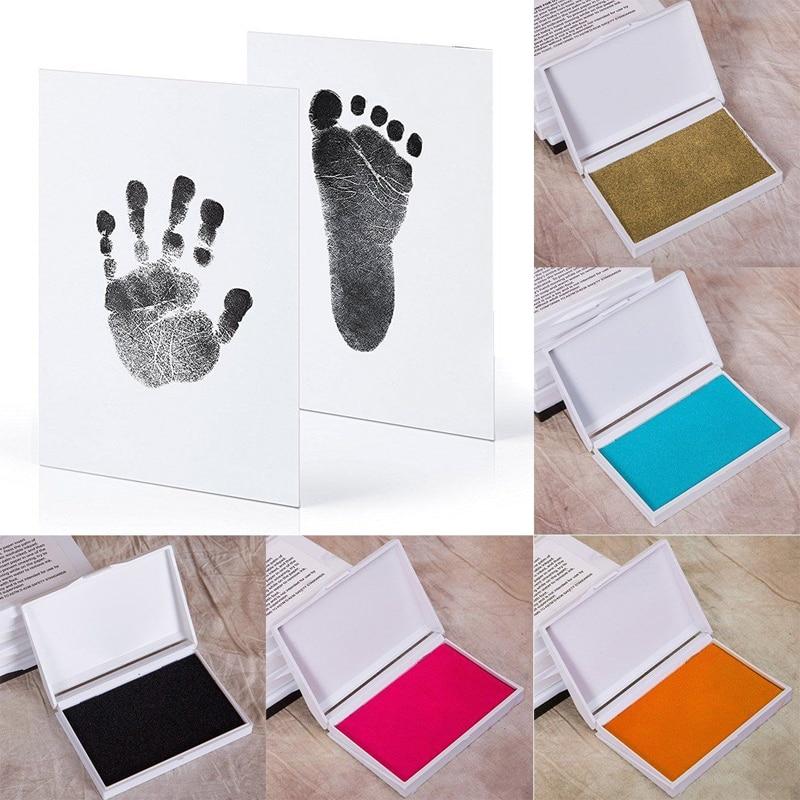 Baby Footprint Ink Pad Non-Toxic DIY Handprint Footprint Imprint Kit Newborn Ink Pad Baby Souvenirs Casting Print Baby Toys