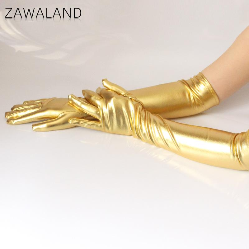 Zawaland Fashion Gold Silver Bright Leather Long Glove Stage Performance Sexy Coating Women Gloves Clothing Accessories