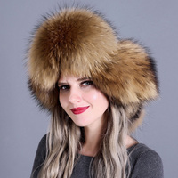 Women Snow Adjustable Warm Thick Trapper Real Fox Fur Skiing Cap Natural Bomber Hat Earflap Autumn Winter