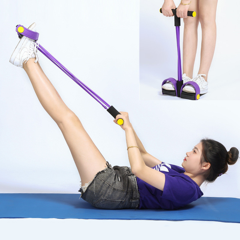 <font><b>4</b></font> <font><b>Tube</b></font> Resistance Bands Pedal <font><b>Fitness</b></font> <font><b>Rope</b></font> Latex Pedal Exerciser Sit-up Pull <font><b>Rope</b></font> Expander Elastic Workout Bands Yoga Equipment image