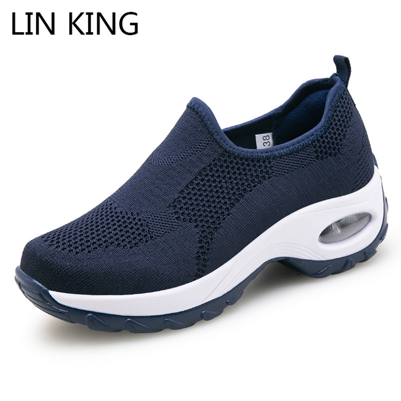 LIN KING Women Casual Shoes Plus Size Fashion Air Cushion Wedges Swing Shoes Breathable Pierced Summer Sneakers Woman Loafers