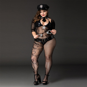 2020 Women's Sexy Large Size Police Dance Costume Set Sexy Cosplay Uniform Temptation, With Handcuffs, Belts, Hats 1