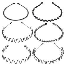 6pcs/set Fashion Unisex Black Wavy Hairband Mens Women Hair Head Hoop Bands Accessories Sport Headband Headdress Styling Tools