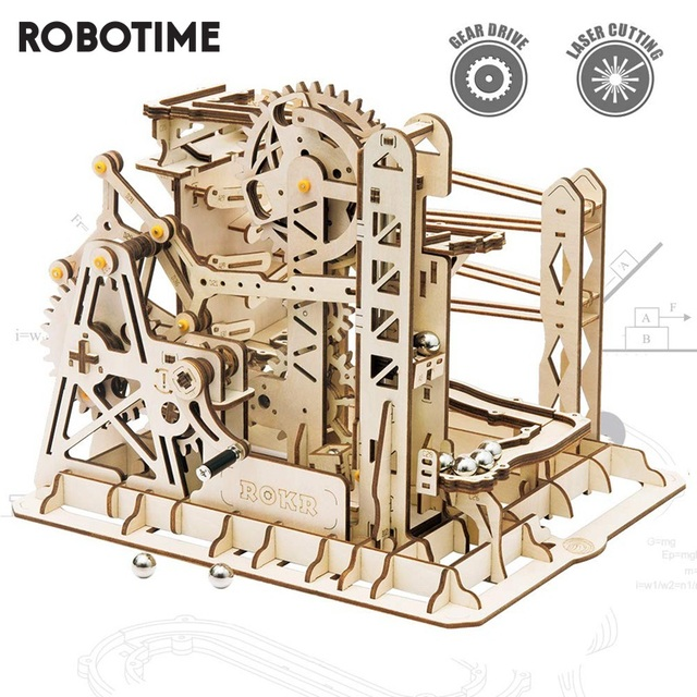 Robotime Rokr 4 Kinds Marble Run DIY Waterwheel Wooden Model Building Block Kits Assembly Toy Gift for Children Adult Dropship 1