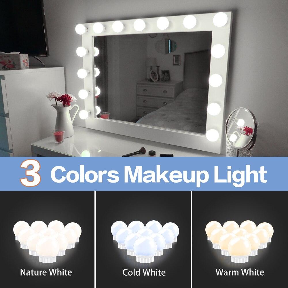 3 modos de colores de maquillaje espejo luz Led táctil atenuación tocador lámpara de mesa bombilla USB 12V Hollywood maquillaje espejo lámpara de pared