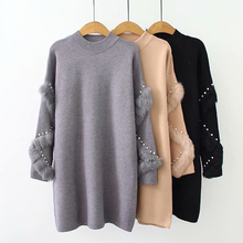 New Winter Long Sweaters Women Casual Loose Pullover Jumpers Real Rabbit Fur Sweater pull femme beading Pearl turtleneck jumper