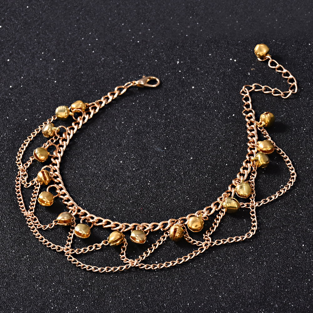 2017 New Women Gril Tassel Chain Bells Sound Gold Metal Chain Anklet Ankle Bracelet Foot Chain Jewelry Beach Anklet 3