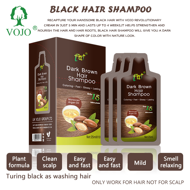 Black Long Lasting Color 25ml Easy To Use Natural Hair Dye Shampoo With Argon Oil Essence Turn Hair To Black In 5min