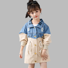 2020 Kids Jacket Patchwork Denim Jacket For Girls Slim Drawstring Kids Windbreaker Spring Autumn Novelty Girls Clothes Party cheap Abesay Fashion COTTON Polyester 0484228 Fits true to size take your normal size Heavyweight Full Outerwear Coats Worsted