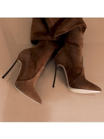 Suede Leather Long Boots Pointed Toe Thin High Heels Woman Slim Fit Winter Over The knee Thigh High Boots Manufacture Zip Up