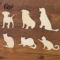 QITAI 24PCS/SET Cute Anminal Shapes cats and dogs Wooden home Decoration Laser Cut DIY scrapbooking crafts for children WF244