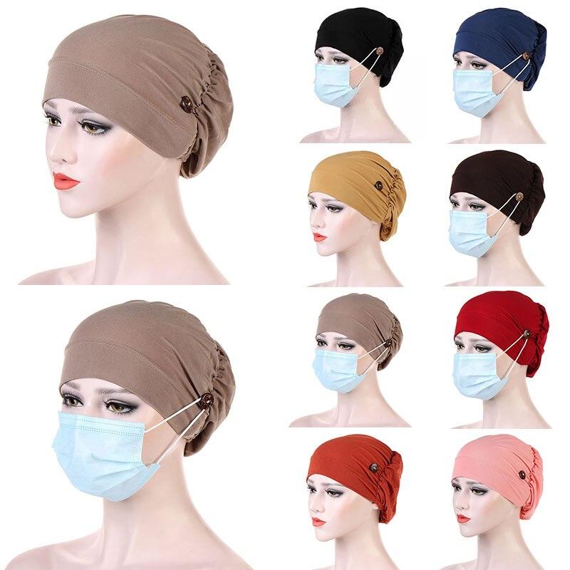 Décontracté Turban tête enveloppement chapeau avec bouton chapeaux foulard Bonnet intérieur Hijabs casquette musulman Hijab chimio chapeaux casquettes Turbantes