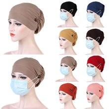 Chapeau Turban pour femmes, couvre-chef avec bouton, foulard, Bonnet intérieur, Hijab musulman, chimio