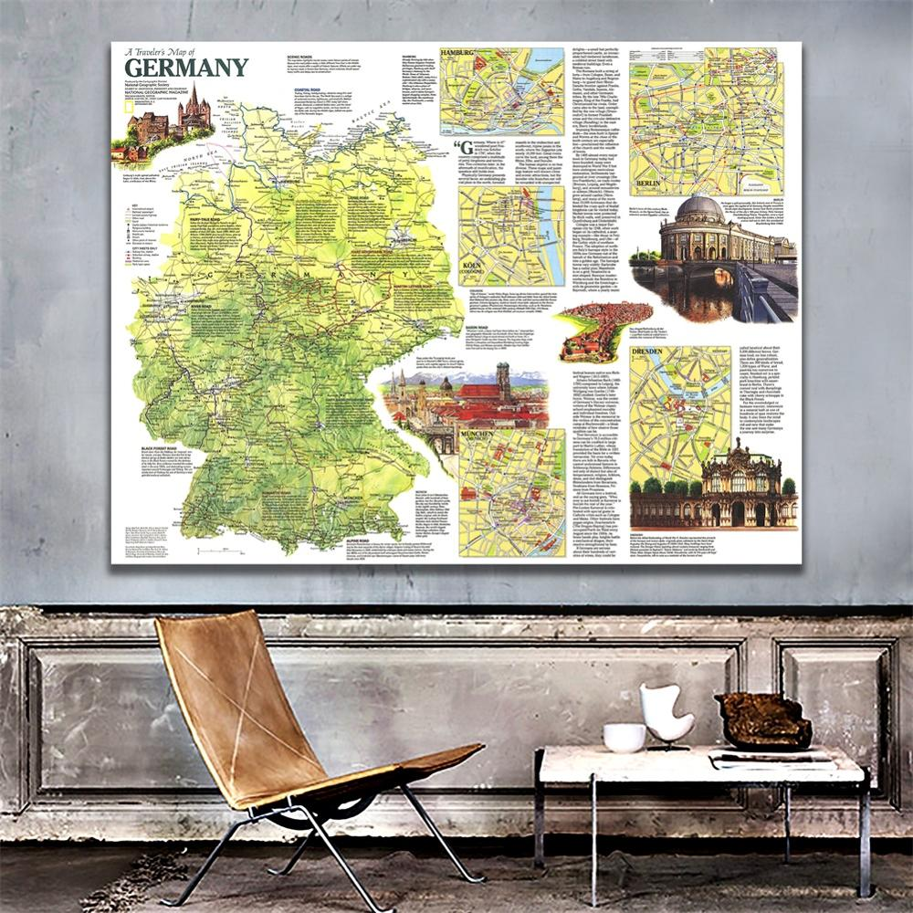 150x225cm Germany-A Traveller's Map HD Non-woven Decor Map Wall Art Home Crafts For Traval And Trip