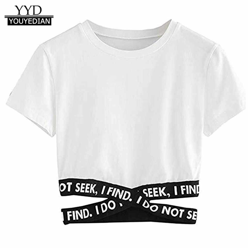 Summer tshirt Womens Lady Fashion Soild Latter Cross Bandage Sexy Tops Fashion T-Shirt short style ropa mujer 2019 verano