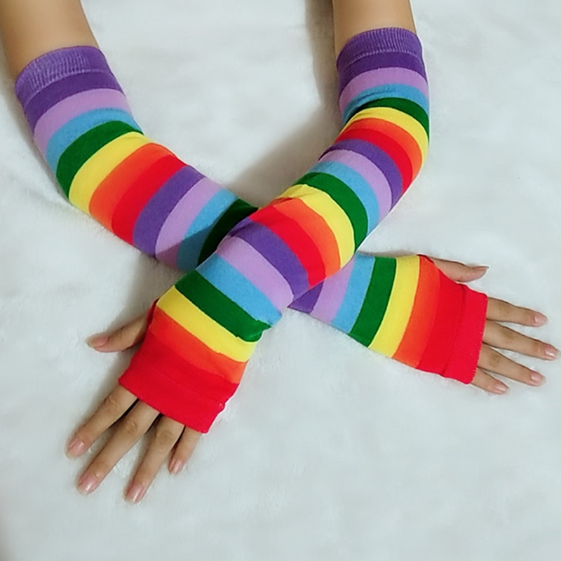 1Pair Colorful Cotton Blend Elbow Length Fingerless Arm Warmers Rainbow Long Striped Gloves Sunscreen Gift For Women Girl Lady