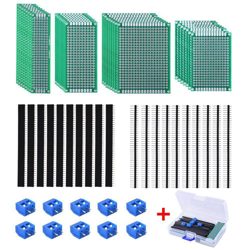 30 Pcs Double Sided PCB Board Prototype Kit 4 Sizes Circuit Board With 20 Pcs 40 Pin 2.54mm Male And Female Header Connector For