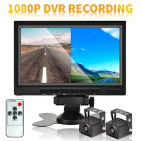 Podofo 7 inch Car Rear View Backup Camera System with AHD 1080P Screen Split Monitor Reversing Camera Night Vision for Truck Bus