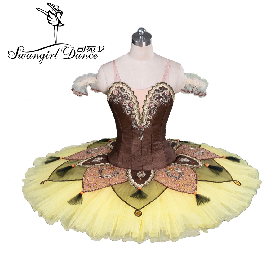 gul professionell tallrik tutu klassisk balett tutu kostym småbarn danskläder vuxna tutuklänningarBT9084