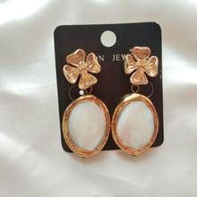 Wholesale statement earrings 3pairs oval stone earrings with gold frame luxury dangle drop earrings for women indina fashion jewerly earring(China)