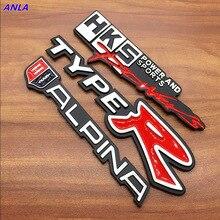 цена на 1pcs 3D Aluminum TYPE R TYPER ALPINA Car Sticker Emblem Chrome Rear Badge for BMW HONDA Civic CRV MODURO power and sports