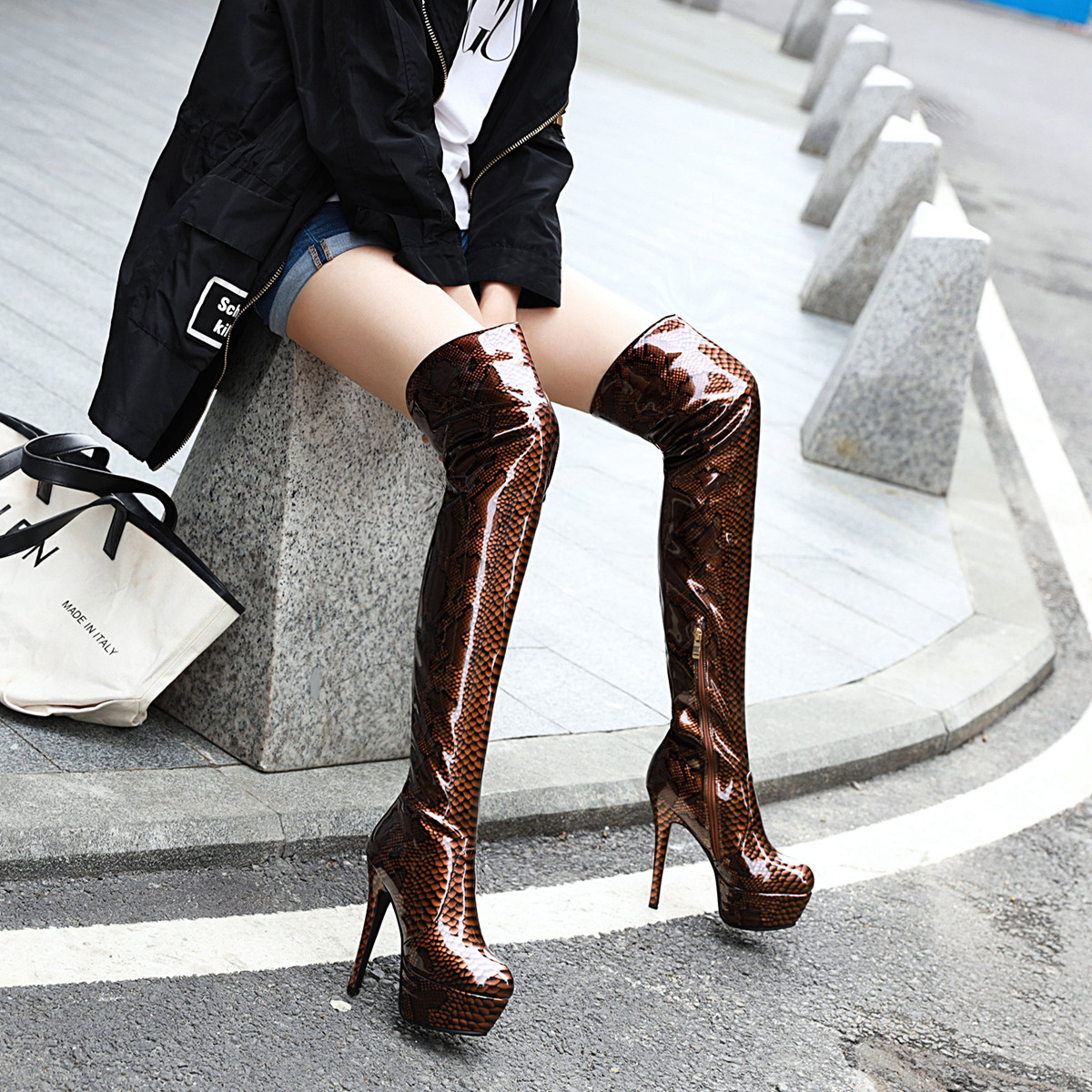 Women over-the-knee Boots plus size 22-28cm length patent leather long boots Snakeskin pattern super high heel platform shoes