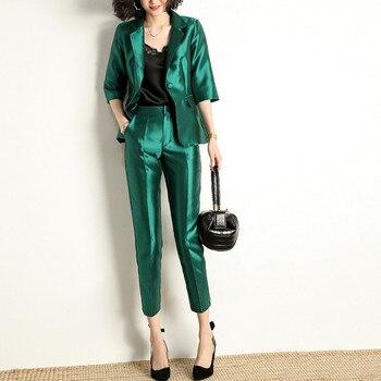 Women's suit fashion temperament elegant women's slim suit 2 piece blazer trousers women's office lady suit set костюм женский