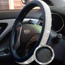 38cm protetor de cobertura de volante do carro para as meninas femininas bling strass cristal decoração interior do carro acessórios automóveis