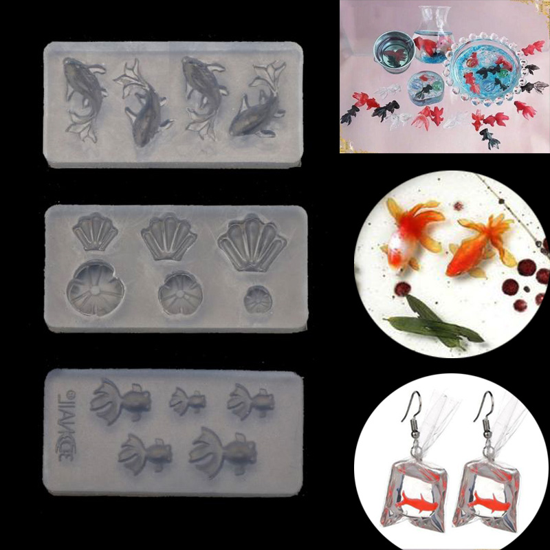 3Pcs Mini Size Goldfish Lotus Leaf Earrrings Water Dag DIY Resin Jewelry Mold Kit Crystal Epoxy Mold DIY Jewelry Making New