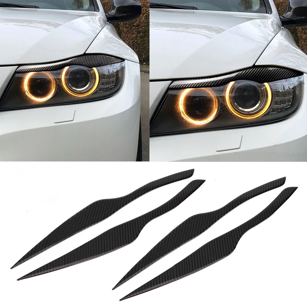 1Pair Carbon Fiber Car Headlight <font><b>Eyebrows</b></font> Eyelid Cover Decoration Car Stickers For <font><b>BMW</b></font> 3 Series <font><b>E90</b></font> E91 F30 F34 2006- 2011 image