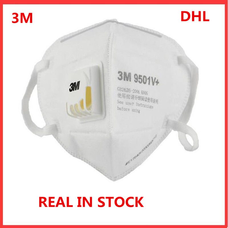 10pcs DHL 3M 9501V+ 3M KN95 Mask Safety Protective Dust Mask Anti-PM 2.5 Sanitary Working Respirator With Filter