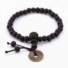 KaiMin 6MM Men Copper Coin Wood Bracelet Bead Tibetan Buddha Bracelet Stone Diffuser Bracelets Men Jewelry Gift Wholesale