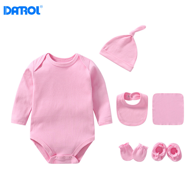 Baby Jumpsuit Solid Color Men And Women Baby Clothes Long-sleeved Triangle Romper Hat Bib Shou Jiao Tao Kerchief set
