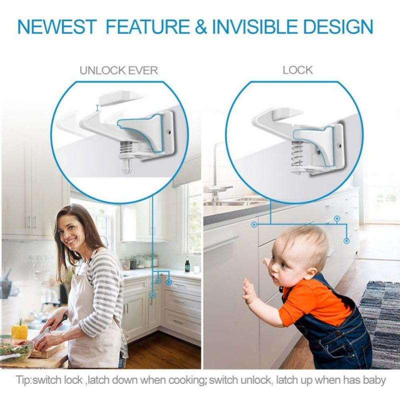 New 10/12Pcs Hidden Drawer Lock Kids Safety Drawer Latches Children Security Protection Baby Proof Baby Safety Lock Without Tool