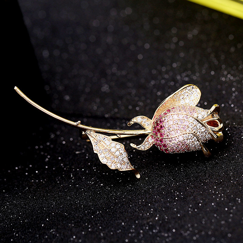 Vintage Golden Rose Jewelry Colorful Zicon Brooch Pin for Women Clothes Scarf Buckle Garment Accessories Fashion Jewelry-3