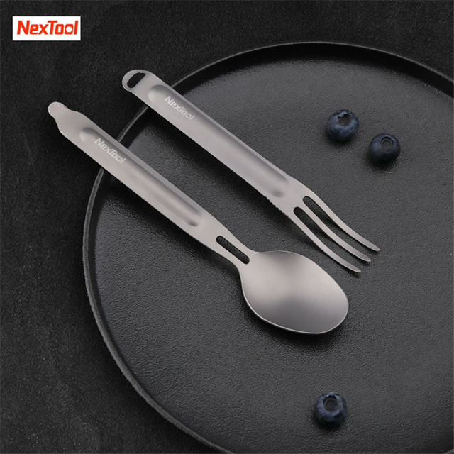 Newest Youpin NexTool Fork Spoon Outdoor Pure Titanium Portable Tableware 2 in 1 Detachable Outdoor Sports Healthy Convenient