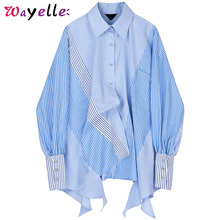 Striped Women Tops and Blouses 2019 Fall Patchwork Spliced Big Size Elegant Shirts Asymmetrical  Long Sleeve Loose Women Blouses asymmetrical lace spliced tee
