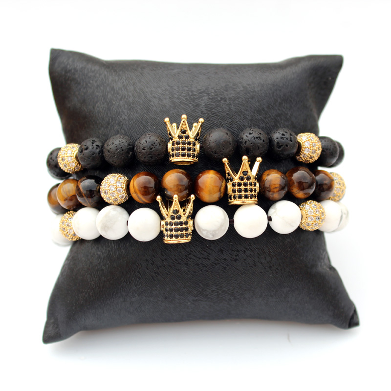 Natural Stone Crown Bracelet For Women Pulseira Men Armband Accessories Summer Jewellery Friends Gift Wholesale Dropshipping
