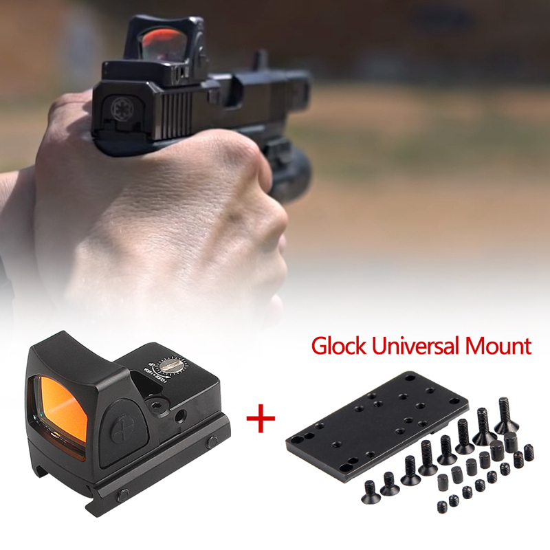 Highly Compatible Collimator Mini RMR Red Dot Sight With Glock Universal Mount Airsoft Hunting Rifle Optical Sight Reflex Sight