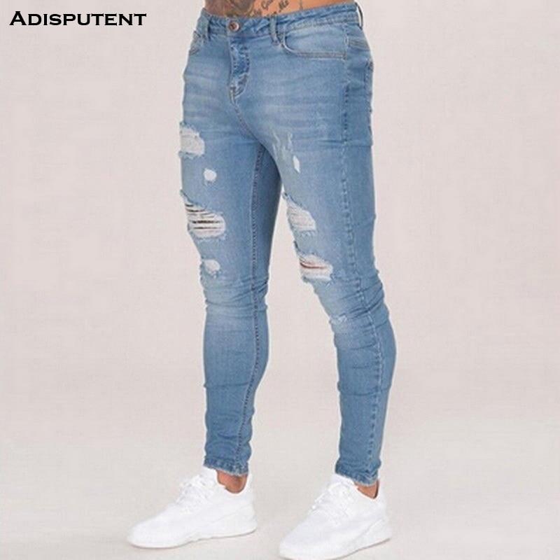Adisputent Mens  Ripped Jeans Casual Jeans Trousers Male Denim Black Stretch Pencil Jeans Pants Streetwear Adisputent 2019
