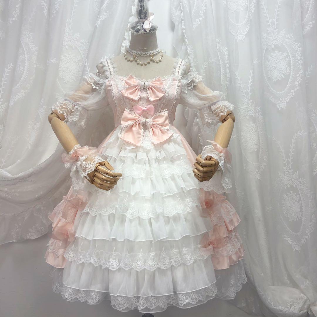 laço bowknot bonito impressão vitoriano vestido kawaii