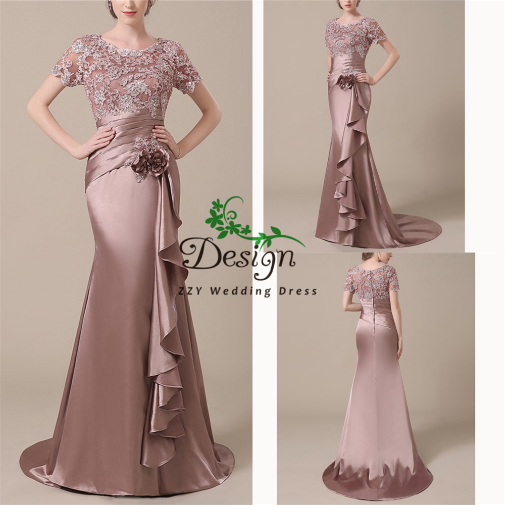 Mother Of The Bride Dress Evening Party Dresses Cap Sleeves Purple Satin And Lace Flowers Sashes Pleat Vestido De Madrinha Dress