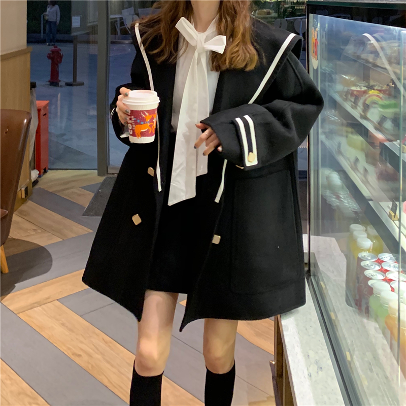 H0c0e2b57c49a47f9a652011146cd9ebc3 - Winter Korean Butterfly Collar Mid-Long Faux Woolen Coat