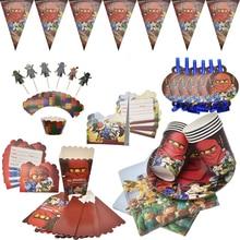 Ninjago тематические вечерние украшения, посуда ниндзя, бумажные кружки, тарелки, салфетки, детские воздушные шары для вечеринки на день рождения