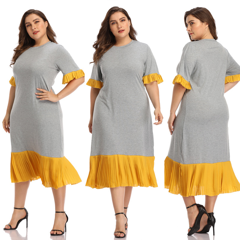 87 Cross Border 2019 Europe And America Hot Selling Amazon Large Size Dress Crew Neck Joint Long Skirts Elegant Casual Dress