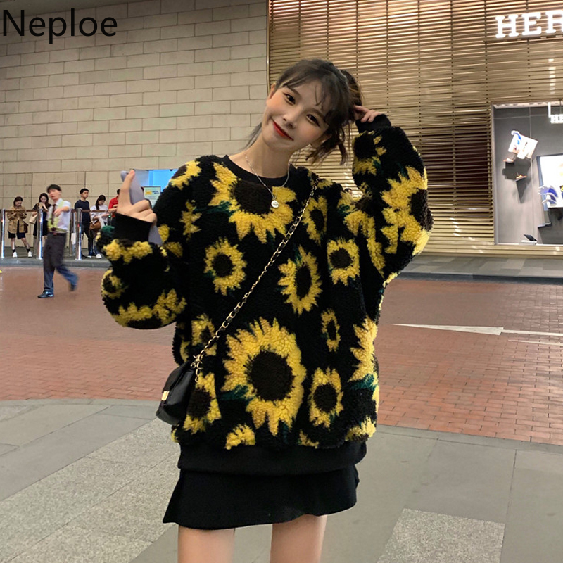 Neploe Sunflower Velvet Hoodies Women Fall Winter 2020 New Korean O Neck Long Sleeve Sweatshirts Loose Female Pullover Top 80342
