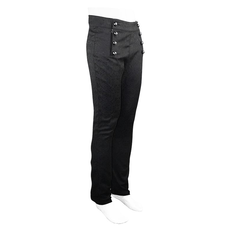 Dress Pants For Men High Waisted Slim Fit Extreme Comfort Workout Suit With Double Breasted Steel Ball Decorated